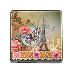Fuschia Flowers Butterfly Eiffel Tower Vintage Paris Fashion Memory Card Reader With Storage (square) by chicelegantboutique
