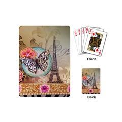 Fuschia Flowers Butterfly Eiffel Tower Vintage Paris Fashion Playing Cards (mini)