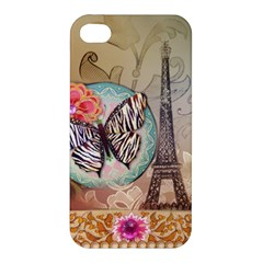 Fuschia Flowers Butterfly Eiffel Tower Vintage Paris Fashion Apple Iphone 4/4s Hardshell Case by chicelegantboutique
