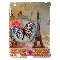 Fuschia Flowers Butterfly Eiffel Tower Vintage Paris Fashion Apple Ipad 3/4 Hardshell Case (compatible With Smart Cover) by chicelegantboutique