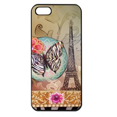 Fuschia Flowers Butterfly Eiffel Tower Vintage Paris Fashion Apple Iphone 5 Seamless Case (black) by chicelegantboutique