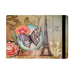 Fuschia Flowers Butterfly Eiffel Tower Vintage Paris Fashion Apple iPad Mini Flip Case