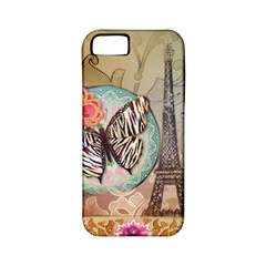 Fuschia Flowers Butterfly Eiffel Tower Vintage Paris Fashion Apple Iphone 5 Classic Hardshell Case (pc+silicone) by chicelegantboutique