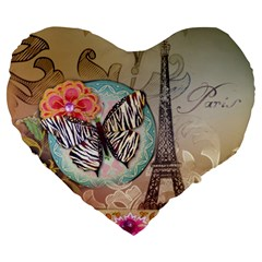 Fuschia Flowers Butterfly Eiffel Tower Vintage Paris Fashion 19  Premium Heart Shape Cushion by chicelegantboutique