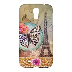 Fuschia Flowers Butterfly Eiffel Tower Vintage Paris Fashion Samsung Galaxy S4 I9500/i9505 Hardshell Case by chicelegantboutique
