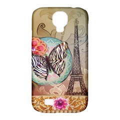 Fuschia Flowers Butterfly Eiffel Tower Vintage Paris Fashion Samsung Galaxy S4 Classic Hardshell Case (pc+silicone) by chicelegantboutique