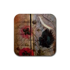 Vintage Bird Poppy Flower Botanical Art Drink Coaster (square) by chicelegantboutique