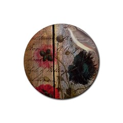 Vintage Bird Poppy Flower Botanical Art Drink Coaster (round) by chicelegantboutique