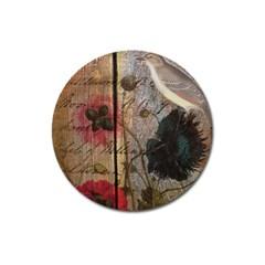 Vintage Bird Poppy Flower Botanical Art Magnet 3  (round) by chicelegantboutique