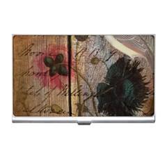 Vintage Bird Poppy Flower Botanical Art Business Card Holder by chicelegantboutique