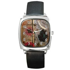 Vintage Bird Poppy Flower Botanical Art Square Leather Watch by chicelegantboutique