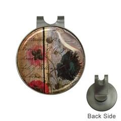Vintage Bird Poppy Flower Botanical Art Hat Clip With Golf Ball Marker by chicelegantboutique