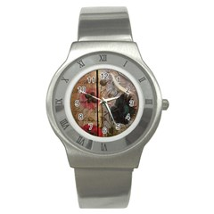 Vintage Bird Poppy Flower Botanical Art Stainless Steel Watch (unisex) by chicelegantboutique