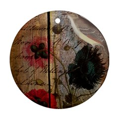 Vintage Bird Poppy Flower Botanical Art Round Ornament (two Sides) by chicelegantboutique