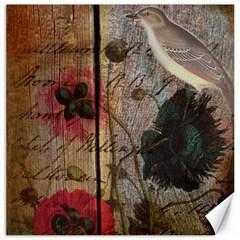 Vintage Bird Poppy Flower Botanical Art Canvas 16  X 16  (unframed) by chicelegantboutique