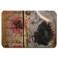 Vintage Bird Poppy Flower Botanical Art Large Door Mat by chicelegantboutique