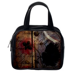 Vintage Bird Poppy Flower Botanical Art Classic Handbag (one Side) by chicelegantboutique