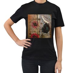 Vintage Bird Poppy Flower Botanical Art Womens' T Shirt (black) by chicelegantboutique