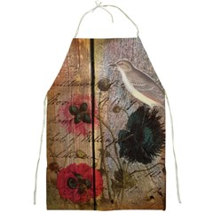 Vintage Bird Poppy Flower Botanical Art Apron by chicelegantboutique
