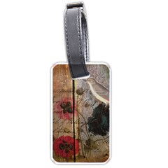 Vintage Bird Poppy Flower Botanical Art Luggage Tag (two Sides) by chicelegantboutique