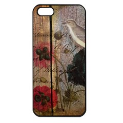 Vintage Bird Poppy Flower Botanical Art Apple Iphone 5 Seamless Case (black) by chicelegantboutique
