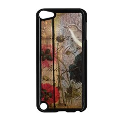 Vintage Bird Poppy Flower Botanical Art Apple Ipod Touch 5 Case (black) by chicelegantboutique