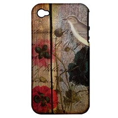 Vintage Bird Poppy Flower Botanical Art Apple Iphone 4/4s Hardshell Case (pc+silicone) by chicelegantboutique