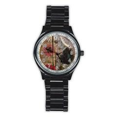 Vintage Bird Poppy Flower Botanical Art Sport Metal Watch (black) by chicelegantboutique
