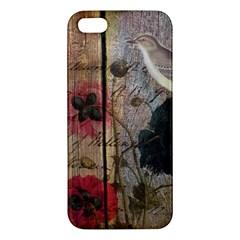 Vintage Bird Poppy Flower Botanical Art Iphone 5s Premium Hardshell Case by chicelegantboutique