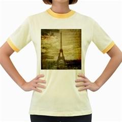 Elegant Vintage Paris Eiffel Tower Art Womens  Ringer T Shirt (colored) by chicelegantboutique