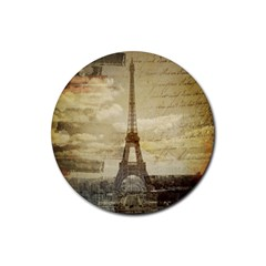 Elegant Vintage Paris Eiffel Tower Art Drink Coaster (round) by chicelegantboutique