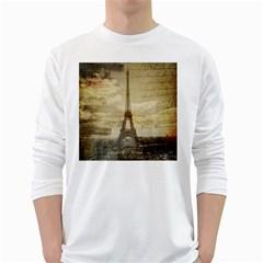 Elegant Vintage Paris Eiffel Tower Art Mens' Long Sleeve T Shirt (white) by chicelegantboutique