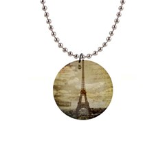 Elegant Vintage Paris Eiffel Tower Art Button Necklace by chicelegantboutique