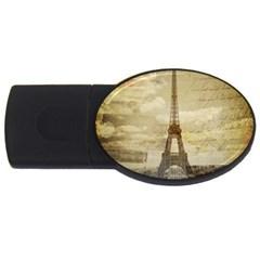 Elegant Vintage Paris Eiffel Tower Art 4gb Usb Flash Drive (oval) by chicelegantboutique