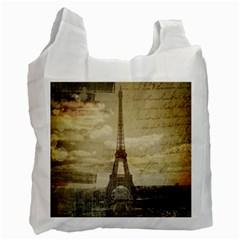 Elegant Vintage Paris Eiffel Tower Art Recycle Bag (one Side) by chicelegantboutique
