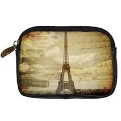 Elegant Vintage Paris Eiffel Tower Art Digital Camera Leather Case by chicelegantboutique