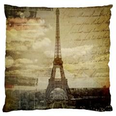 Elegant Vintage Paris Eiffel Tower Art Large Cushion Case (single Sided)  by chicelegantboutique