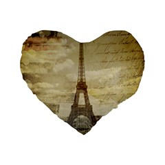 Elegant Vintage Paris Eiffel Tower Art 16  Premium Heart Shape Cushion  by chicelegantboutique