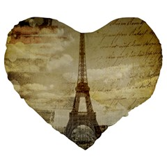 Elegant Vintage Paris Eiffel Tower Art 19  Premium Heart Shape Cushion by chicelegantboutique
