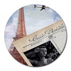 French Postcard Vintage Paris Eiffel Tower 8  Mouse Pad (round) by chicelegantboutique