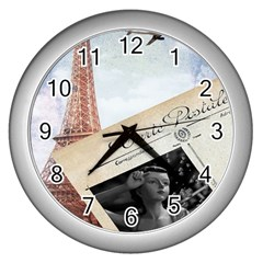 French Postcard Vintage Paris Eiffel Tower Wall Clock (Silver) by chicelegantboutique