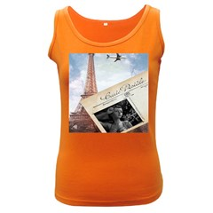 French Postcard Vintage Paris Eiffel Tower Womens  Tank Top (dark Colored) by chicelegantboutique