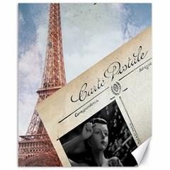 French Postcard Vintage Paris Eiffel Tower Canvas 16  X 20  (unframed) by chicelegantboutique