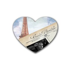 French Postcard Vintage Paris Eiffel Tower Drink Coasters 4 Pack (heart)  by chicelegantboutique