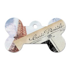 French Postcard Vintage Paris Eiffel Tower Dog Tag Bone (Two Sided) by chicelegantboutique
