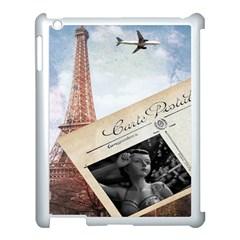 French Postcard Vintage Paris Eiffel Tower Apple Ipad 3/4 Case (white) by chicelegantboutique