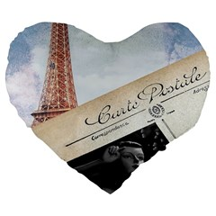 French Postcard Vintage Paris Eiffel Tower 19  Premium Heart Shape Cushion by chicelegantboutique