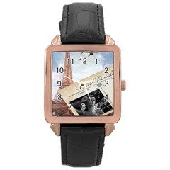French Postcard Vintage Paris Eiffel Tower Rose Gold Leather Watch  by chicelegantboutique
