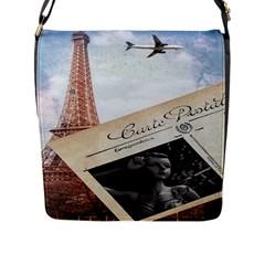 French Postcard Vintage Paris Eiffel Tower Flap Closure Messenger Bag (large) by chicelegantboutique