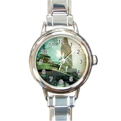 Modern Shopaholic Girl  Paris Eiffel Tower Art  Round Italian Charm Watch by chicelegantboutique